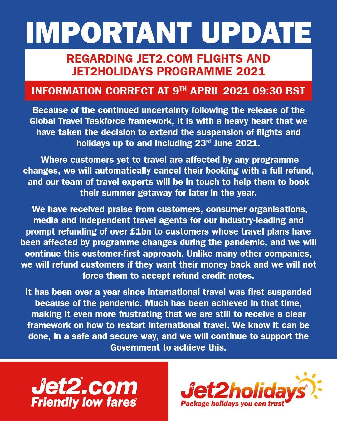 171277979 10158199074955098 3229650530613891730 n 1 Пореден удар: Jet2 анулира всички полети и почивки до края на юни